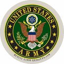 """Adhesive backed decal - U.S. Army logo. 3 1/4"""" diameter. Officially licensed by the U.S. Army."""