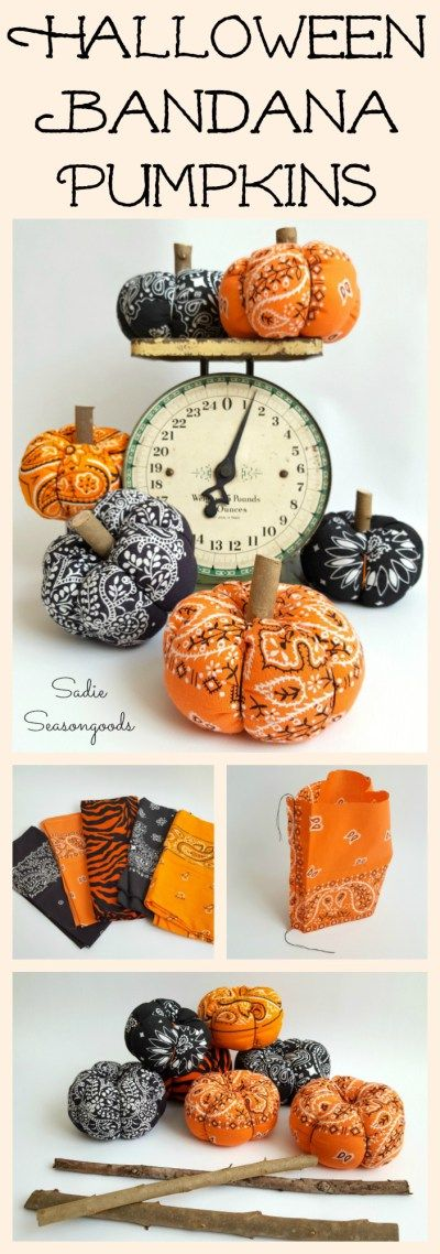 Repurpose and Upcycle a vintage orange or black bandana into a low sew easy to make DIY fabric pumpkin for Halloween. Super easy craft project to make and just adorable autumn project, to boot. Plus, the stem is made from yard debris!! Happy Halloween from #SadieSeasongoods / www.sadieseasongoods.com: