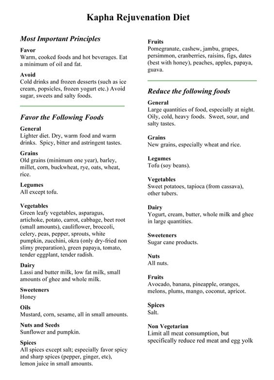 Kapha Body Type Meal Plan- It's funny... I found this today after cutting out all dairy, most sweets, and large amounts of meat a couple months ago. I have been loosing a lot of weight recently. I was doing this all by myself for my body type.