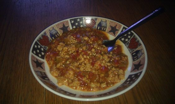Chicken chili.1lb ground chicken, 1 packet of mccormicks white chicken ...