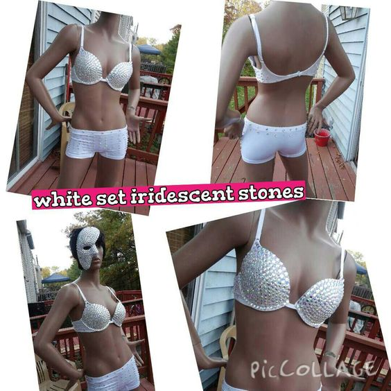 Custom Rave bra Rhinestone bra with optional  center chain and irridescent stones 2015 new design by Smokinghotdivas on Etsy