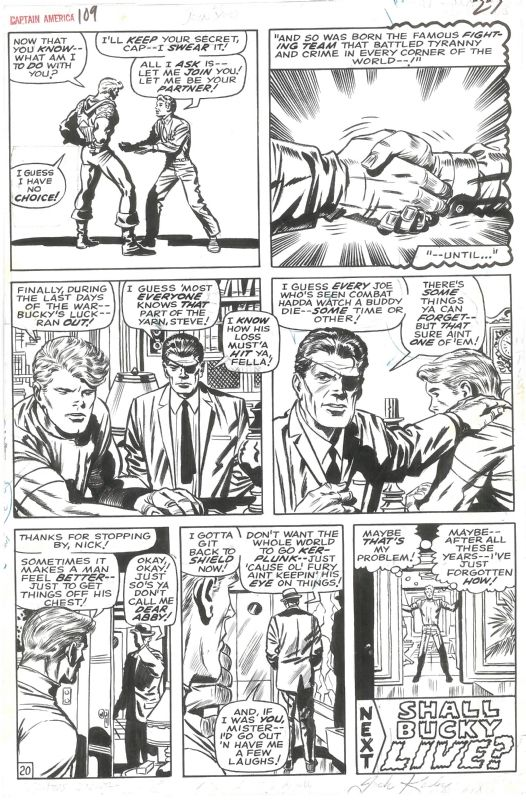 Original Comic Art Titled Captain America 109 End Page By Jack Kirby Historic Origin Issue Signed By Jack Kirby Located Comic Art Jack Kirby Art Kirby Art