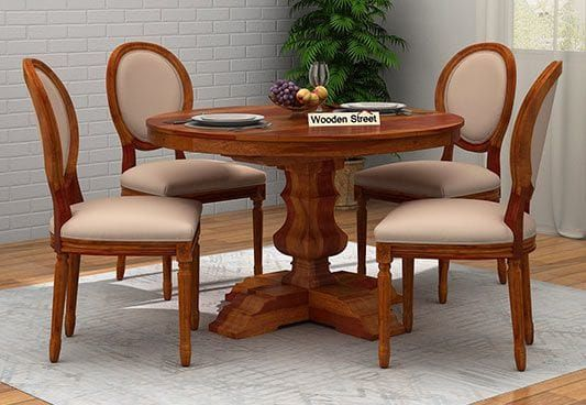 Clark 4 Seater Round Dining Set Honey Finish Dining Table