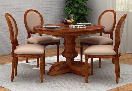 Clark 4 Seater Round Dining Set Honey Finish Round Dining Table Sets Round Dining Table Dining Table
