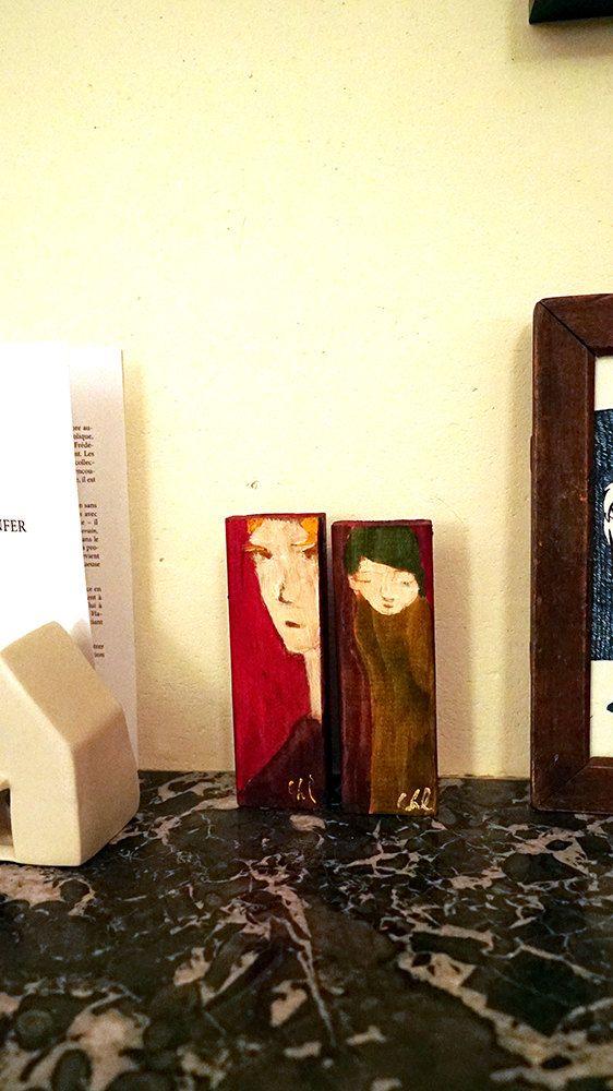 Personnage aux cheveux verts - peinture bois et fer