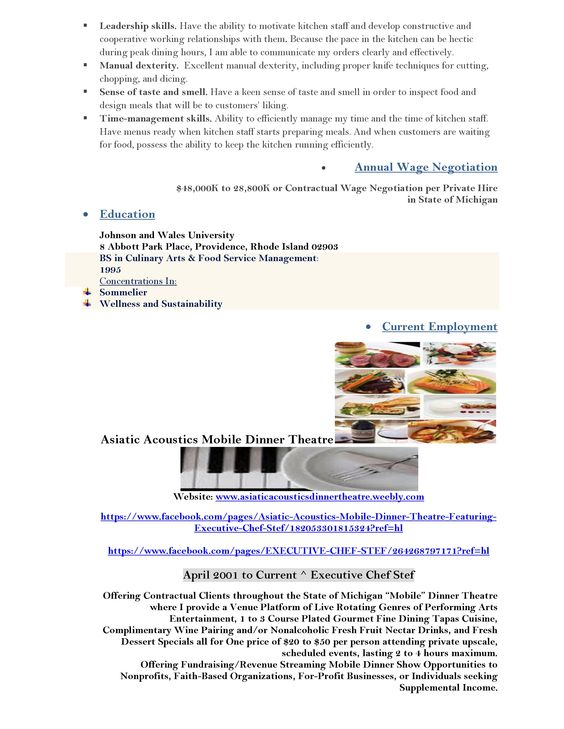 My Professional Culinary Resume Page 2 Executive Chef Looking   Personal  Chef Resume  Personal Chef Resume