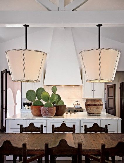 : Dining Room, Diane Keaton S, Light Fixtures, Inverted Lampshade, Kitchen Design, Lamp Shades, House Idea, Keaton S Kitchen