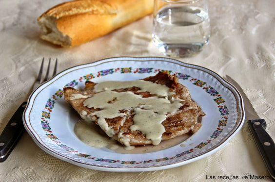 Secreto ibérico con salsa de queso azul