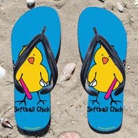 Softball Chick on Light Blue Flip Flops - Kick back after a softball game with these great flip flops! Fun and functional flip flops for all softball players and fans.