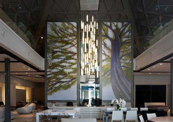 Tall entry lobby chandelier modern lighting for foyer for Very modern lighting