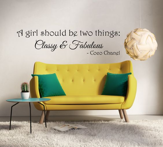 Coco Chanel Inspired Wall Decal Sticker - Every girl should be two things - Vinyl - Home Decor - Bedroom - Decoration - Walls by TimesInfinityDesigns on Etsy https://www.etsy.com/listing/214680656/coco-chanel-inspired-wall-decal-sticker
