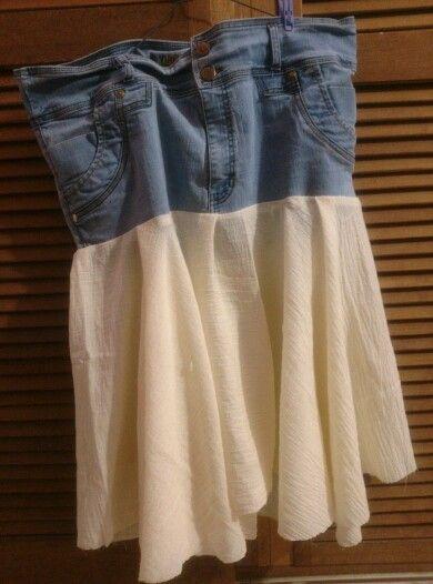 DIY falda jean reciclado y reutilizado con tela beige de algodón