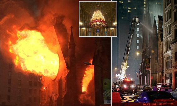 Hundred-and-sixty-year-old New York church engulfed in flames #DailyMail