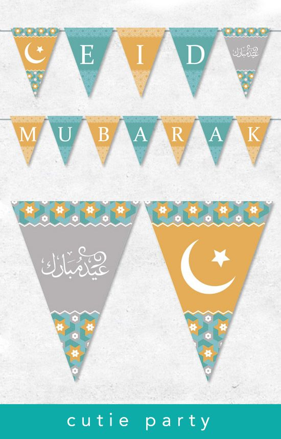 Eid Mubarak Editable Decor Bunting Ramadan Mubarak Bunting Banner Eid Mubarak Party Printable Eid Party Template Eid Stickers Diy Eid Cards Eid Decoration