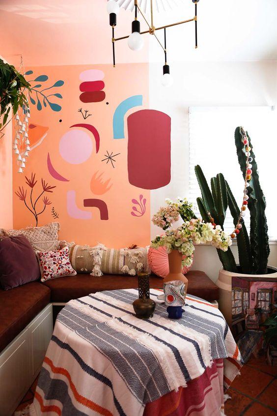 mural #diningroom #morrocostyle #bohoroom #bohodecor #colorfuldiningroom