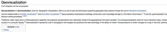 Geovisualization http://en.wikipedia.org/wiki/Geovisualization