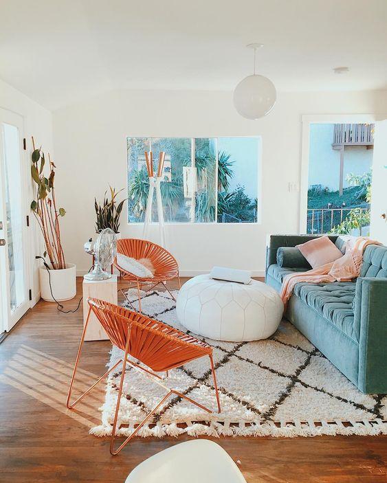 California Eclectic effortless decor Anthropologie style home; blue velvet sofa