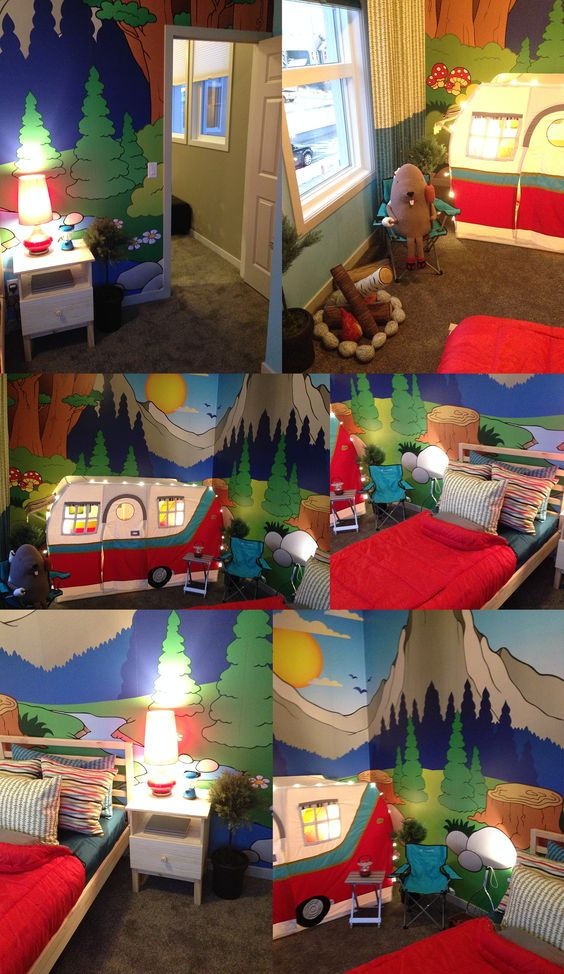 Cool kids room theme wall mural. #eazywallz offers full large scale wall murals that can turn a room into an adventure!