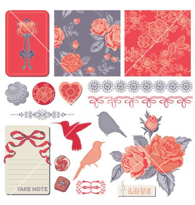 Design elements - vintage roses and birds vector - by woodhouse84 on VectorStock®