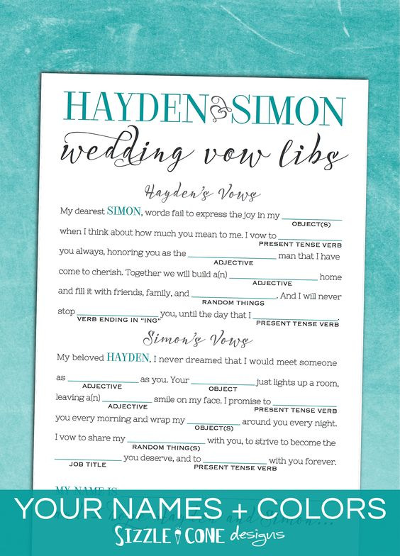 Wedding Vows Mad Libs And Vows On Pinterest
