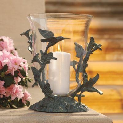Hummingbird Hurricane Candle Holders Outdoors