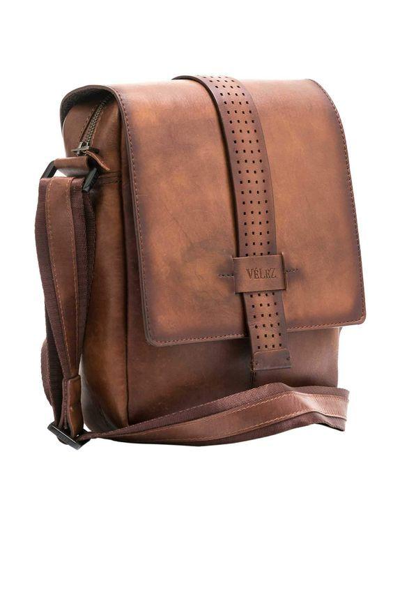 Mariconera para Hombres de Cuero Brown//Caf/é VELEZ Leather Crossbody Bags for Men