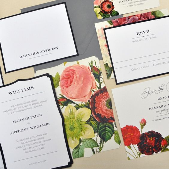 Plantation Floral Wedding Invitations | Smitten on Paper