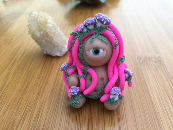 Cyclops Mushroom Forest Goddess // Polymer Clay