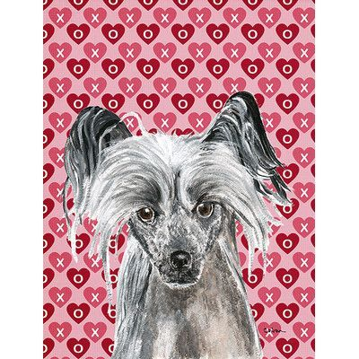 Caroline's Treasures Chinese Crested Valentine's Love House Vertical Flag