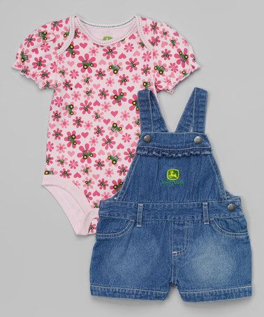 Another great find on #zulily! Pink Farm Toss Bodysuit & Overalls - Infant by John Deere #zulilyfinds