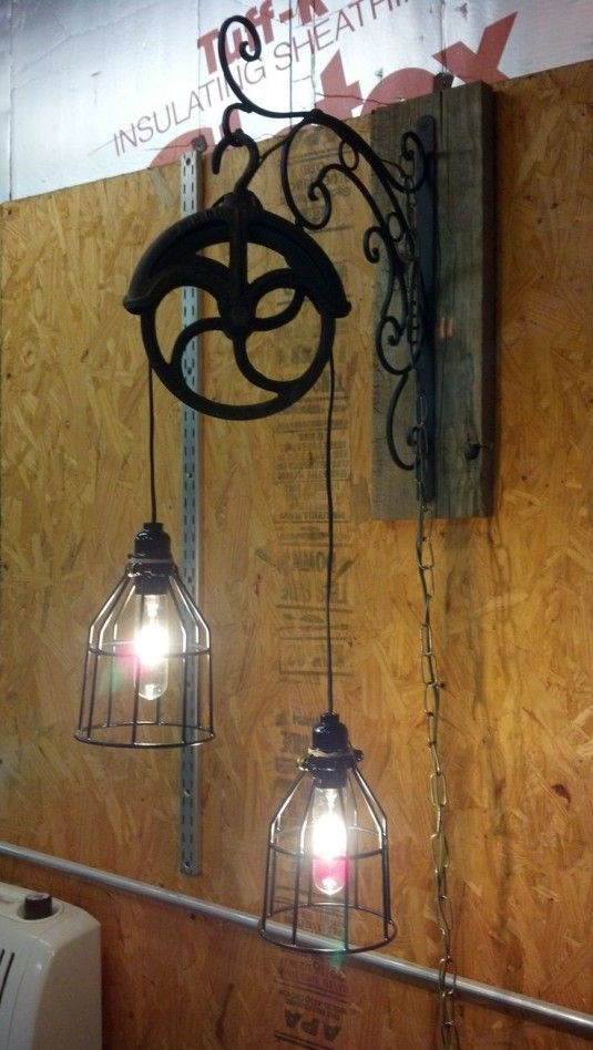 Architecture Vintage Pulley Light Fixture Desig With Cast Iron Construction And Antique Shaped Design For Best