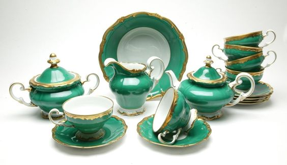 Vintage Weimar Green Tea Set  Katharina  With Gold Applications. Germany. 1950s.