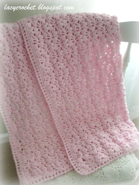 Free Crochet Pattern Lacy Baby Blanket : Pretty Lacy Stitch for a Baby Blanket free pattern on Lacy ...