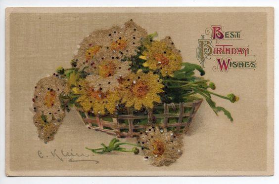 Birthday Greetings Glitter Flowers Artist Signed Klein Winsch Antique PC J27667