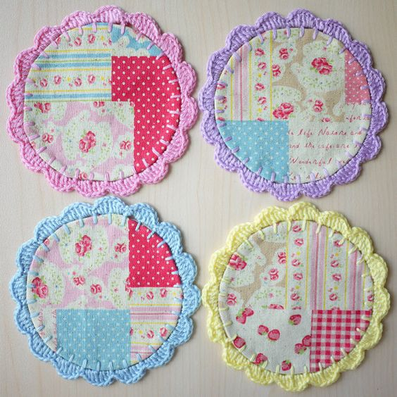 Crochet Fabric Coaster  Set of 4 by patchstitchbutton on Etsy, $15.00