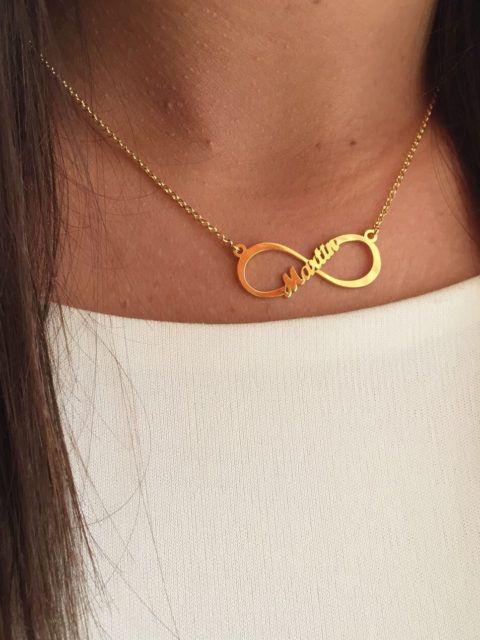 Colgante Infinito Nombre Oro Cadenas De Oro Mujer Collar