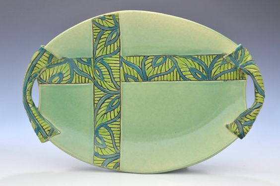Unique platter and wall art in Leaf Green by Creativewithclay, $125.00