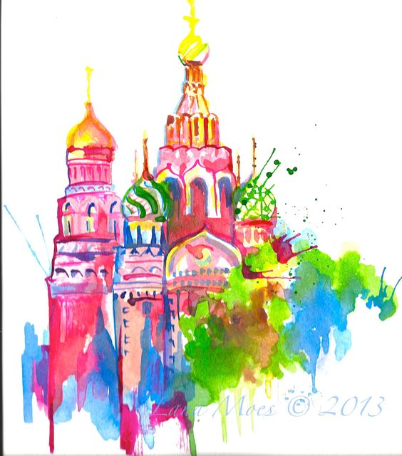 Russia Travel Watercolor Print Moscow Illustration by LanasArt