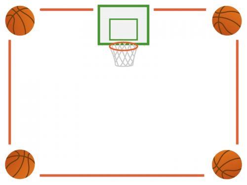 バスケットボールのフレーム飾り枠イラスト02 無料イラスト かわいいフリー素材集 フレームぽけっと 2021 無料 イラスト かわいい 飾り枠 無料 イラスト
