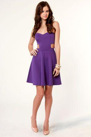 Spaced Makes Waist Strapless Purple Dress   Cutout dress, Colors ...