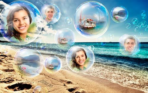 Fotomontaje de burbujas