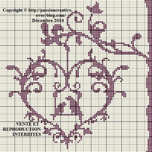 Grille gratuite point de croix coeur et oiseaux - Point de croix mariage grilles gratuites ...