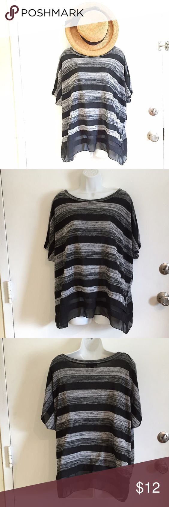 Striped Knit Top Short sleeve knit sweater/top. Grey and black stripes with sheer ruffle along the bottom. Size large. #striped #knit #top #shortsleeve #sweater #large #punkydoodle  No modeling Smoke and pet free home I do discount bundles Tops