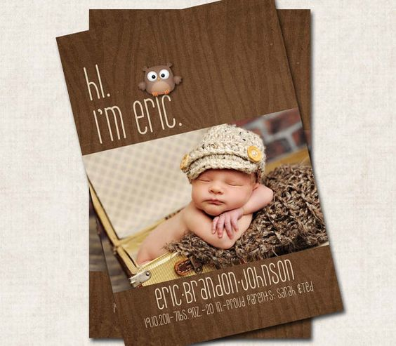 Baby Boy Birth Announcement Thank You by missbellaexpressions.etsy.com