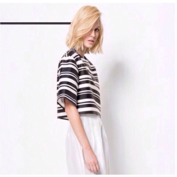 Cameo Collective Higher Ground Striped Top Cameo Fully lined cropped, striped, boxy top. Perfect for many occasions in a shiny mid weight fabric. Measurements available upon request. C/MEO Collective Tops