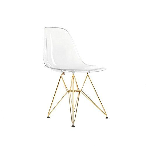 Homecraft Set Of Two 2 Clear Eames Style Dining Chair With Gold