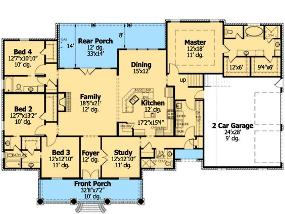Plan 56352sm french country home plan with bonus room for Ranch floor plans with bonus room