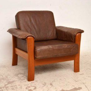 Danish Retro Leather & Teak Armchair Vintage 1970's
