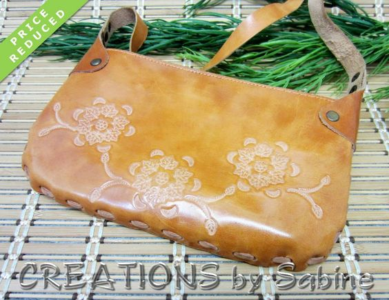 Brown Leather Purse, Tooled, Embossed, Flowers, Leaves, Vintage, Reduced Price