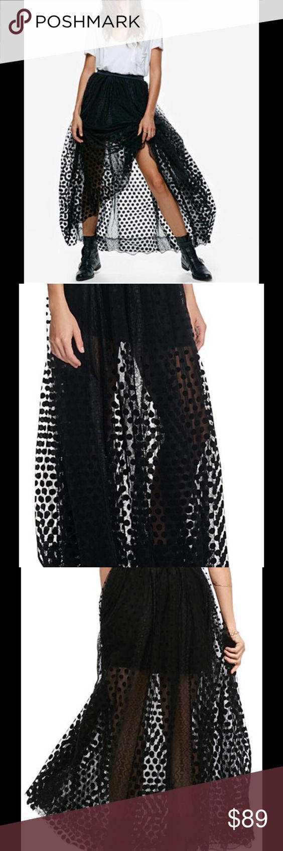 Free People sheer mini/ maxi skirt NWT